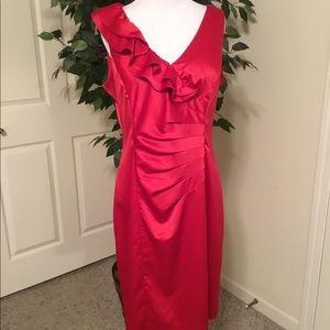 Allen B Red Satin Sheath Holiday Dress. 12